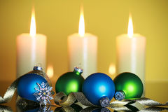 CHristmas decorations. On yellow background Stock Photography