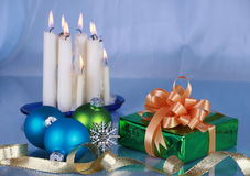 Christmas decorations. On blue background , focus on foreground objects Royalty Free Stock Images