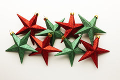 Christmas decorations. Red and Green star shaped Christmas decorations Stock Photos