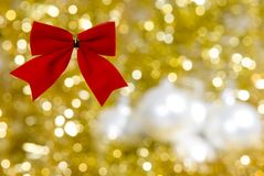 Christmas decorations. A christmas decoration with golden background Stock Image