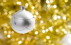 Christmas decorations. A christmas decoration with golden background Royalty Free Stock Photography