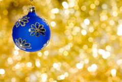 Christmas decorations. A christmas decoration with golden background Stock Photography