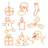 Christmas decorations. Hand drawing christmas decorations. Santa, snowman, cookie and other Stock Photo