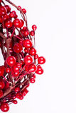 Christmas decorations. Red Christmas decorations on white background Royalty Free Stock Images