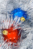 Christmas decorations. Red and blue christmas ball Stock Photography