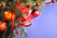 Christmas Decorations. Frame from Christmas ornaments. Isolation on blue Stock Photography