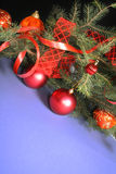 Christmas Decorations. Frame from Christmas ornaments. Isolation on black and blue Royalty Free Stock Photos