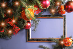 Christmas Decorations. Frame from Christmas ornaments. Isolation on blue Royalty Free Stock Photos