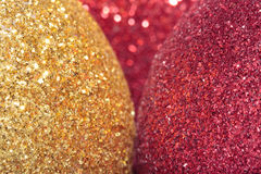 Christmas decorations. Christmas glitter ball decorations close up Royalty Free Stock Image