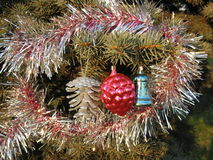 Christmas decorations. Silver and red strobiles and blue bell on branch of fir tree Royalty Free Stock Images