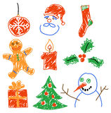 Christmas decorations. Hand drawing christmas decorations. Santa, snowman, cookie and other Royalty Free Stock Photo