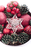 Christmas decorations. Red Christmas decorations close up Stock Photography