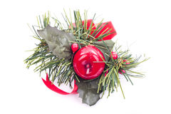 Christmas decorations. Detail over white Royalty Free Stock Photos
