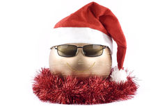 Christmas decorations. Happy christmas face made of decorations Stock Photography