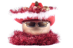 Christmas decorations. Happy christmas face made of decorations Royalty Free Stock Photography