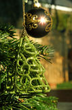 Christmas decorations. Hanging on a tree Stock Photo