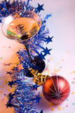Christmas decorations. And martini glass Royalty Free Stock Photos