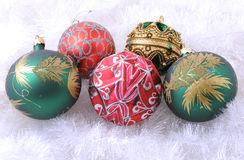 Christmas Decorations. Christmas ornaments and decorations shot in a studio setting Royalty Free Stock Photos