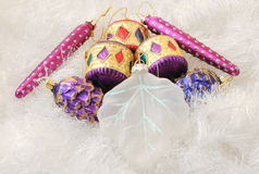 Christmas Decorations. Christmas ornaments and decorations shot in a studio setting Stock Photo