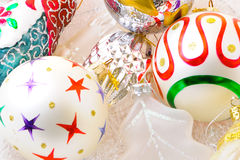 Christmas Decorations. Christmas ornaments and decorations shot in a studio setting Stock Images