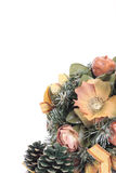 Christmas decorations. Floral christmas ball decoration over white Royalty Free Stock Photography