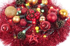 Christmas decorations. Mixed christmas decorations and lights Stock Photos