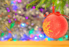 Christmas decorations on the abstract blurred background Royalty Free Stock Image