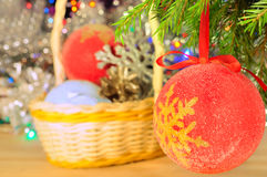 Christmas decorations on the abstract blurred background Stock Photography