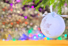 Christmas decorations on the abstract blurred background Royalty Free Stock Photo