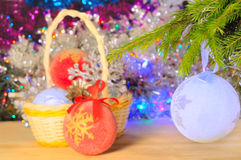 Christmas decorations on the abstract blurred background Stock Images