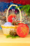 Christmas decorations on the abstract blurred background Royalty Free Stock Images