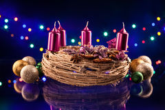 Christmas decorations with Advent wreath Stock Image