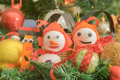 Christmas decorations against the Christmas tree as background. Royalty Free Stock Photography