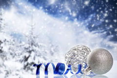Christmas decorations against winter background Royalty Free Stock Photo