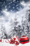 Christmas decorations against winter background Stock Photography