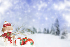 Christmas decorations against winter background Stock Images