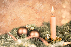 Christmas decorations, aged photo Royalty Free Stock Photo