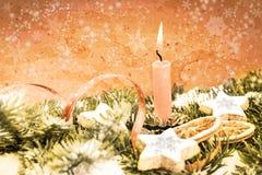 Christmas decorations, aged photo Royalty Free Stock Photos