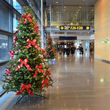Christmas decorations in the airport. Decorations, christmas trees Stock Image