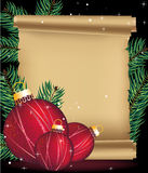 Christmas decorations and ancient manuscript Royalty Free Stock Photos