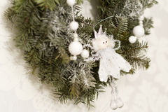 Christmas decorations with angel. Christmas decorations with white and silver angel Royalty Free Stock Photography