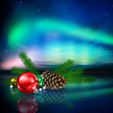 Christmas decorations and auroras Stock Image