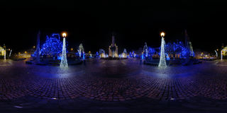 Christmas Decorations in Avram Iancu Square, Cluj-Napoca, Romania. 360 panorama of Avram Iancu Square at night lit up by Christmas decorations, Cluj-Napoca Stock Photography