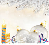 Christmas decorations background. Silver christmas balls and candles on a shiny beige background royalty free illustration