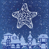 Christmas decorations. Christmas background with big star and city stock illustration