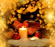 Christmas Decorations background for card Royalty Free Stock Images