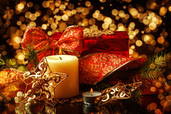 Christmas Decorations background for card Royalty Free Stock Photo