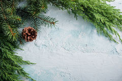 Christmas Decorations. Christmas background with green branches stock images