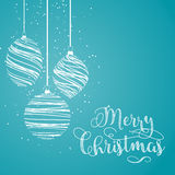 Christmas decorations background. Christmas background with hanging baubles Stock Image