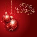 Christmas decorations background. Christmas background with hanging baubles Royalty Free Stock Images
